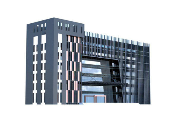 低聚办公中心建筑3d模型Low poly office center building