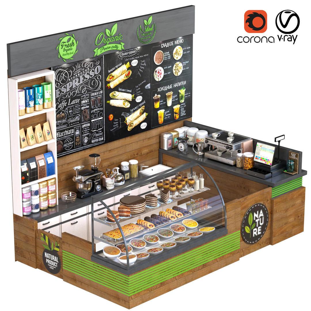 咖啡店模型 咖啡店柜台模型 CoffeShop