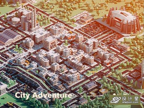 Unity Assets - City Adventure 城市建筑场景模型  Low poly建筑