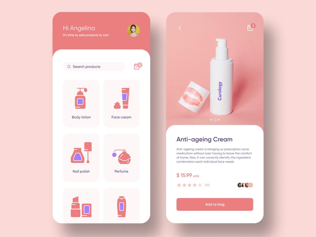 Cosmetics e-Commerce App figma 化妆品手机应用 UI 模版