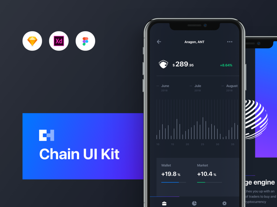 Chain Cryptocurrency UI Kit 加密货币区块链UI套件 区块链 APP UI模版