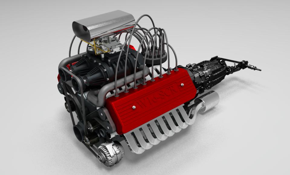 W16 Engine 发动机引擎模型