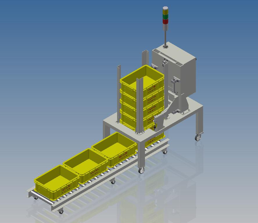 自动CD-M 将盒子放在工业传送带模型