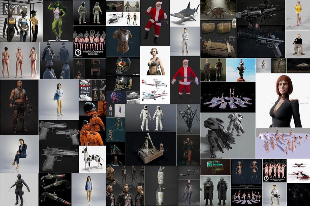 PBR Game 3D-Models Bundle December 2019