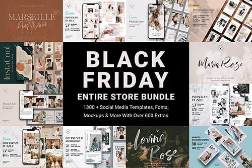 Black Friday Entire Store Bundle 4284801 社交广告模版 社交媒体营销模版 时尚品牌朋友圈宣传模版