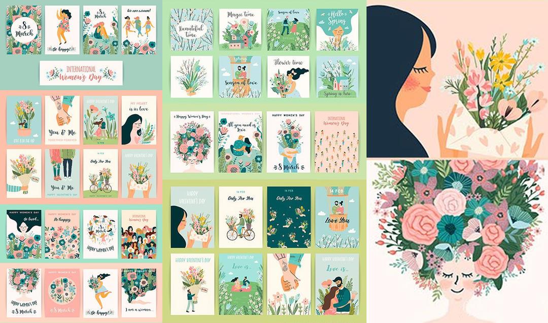 Womens day and romantic flat illustrations design 38妇女节海报插画