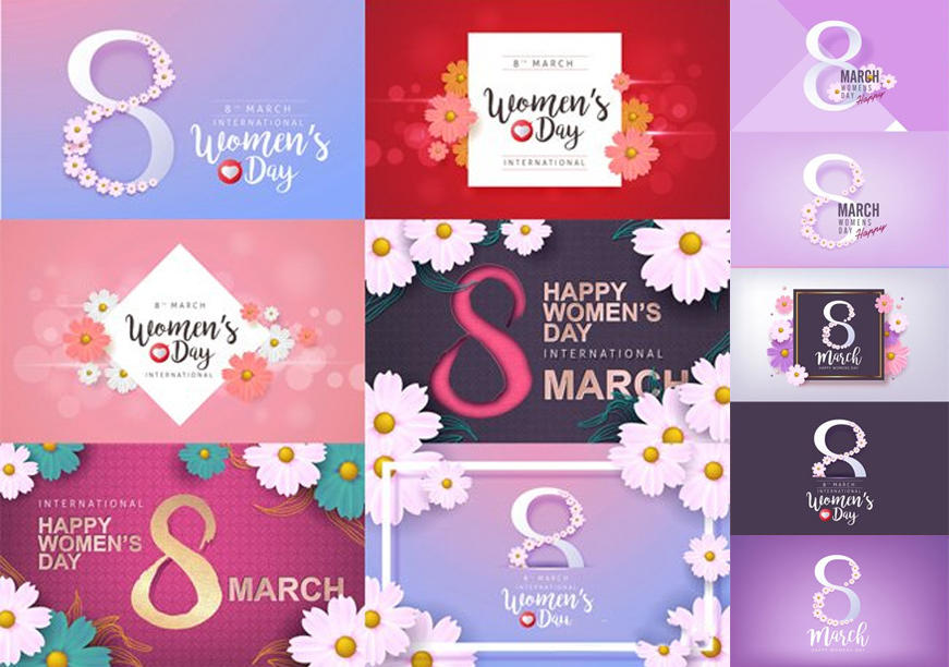 Vector Set - 8 March Womens Day Greeting Card Template  38妇女节贺卡模板