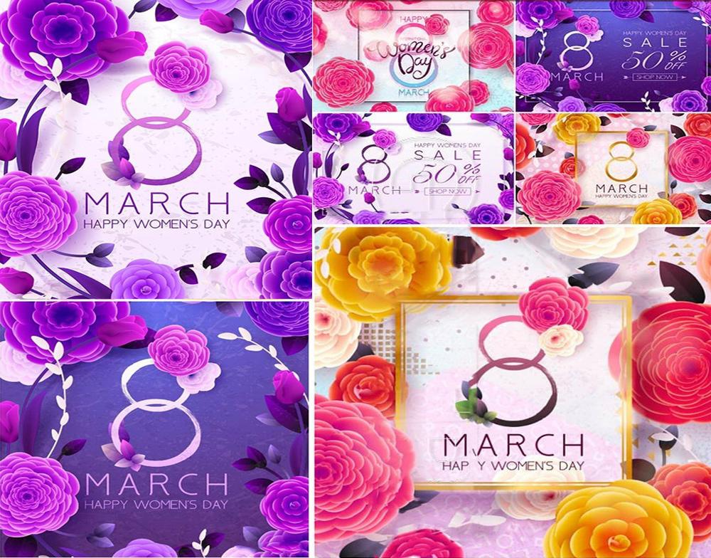 38妇女Happy Women's Day vector illustration 8 March spring flower background ...