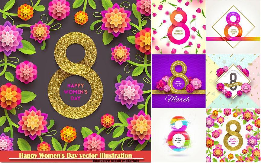 Happy Women's Day vector illustration,8 March, spring flower background 38妇女海报素材