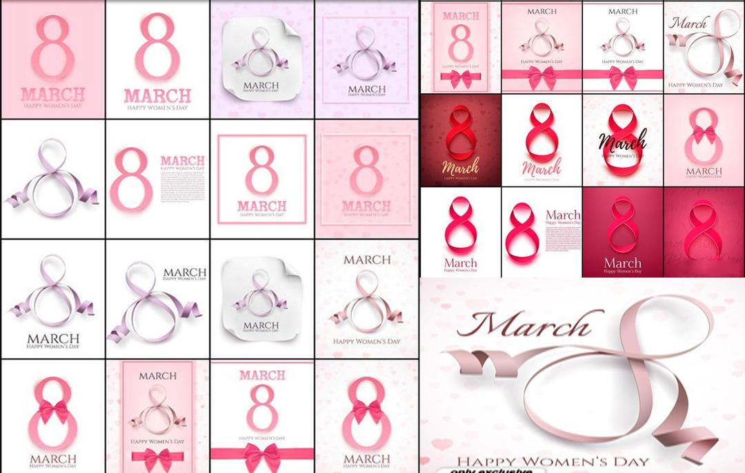 3月8日国际妇女节贺卡 8 March International Womens day greeting card 38妇女节艺术字素材
