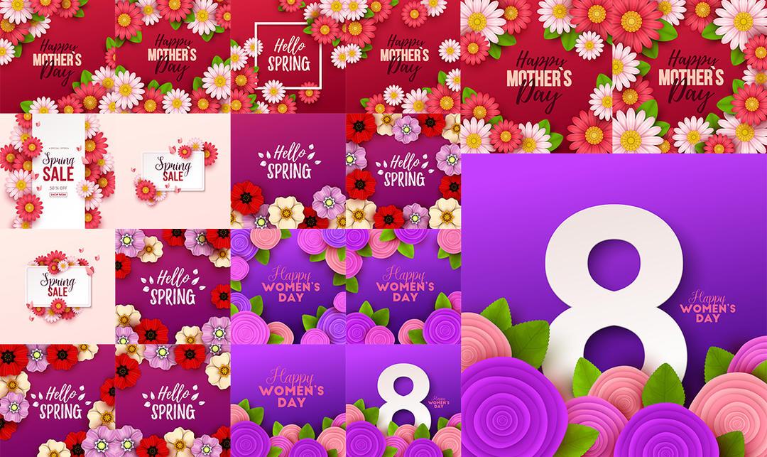 38妇女节矢量素材 妇女节花朵矢量素材 妇女节快乐海报素材# 3