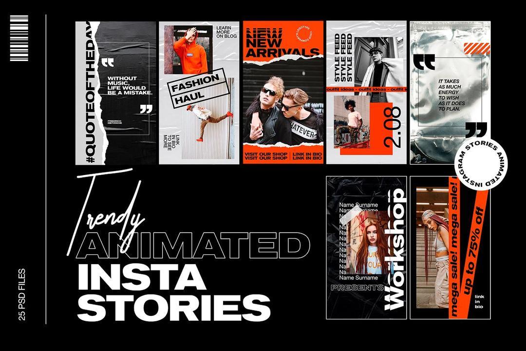 Trendy Animated Instagram Stories 3610153 朋友圈社交营销海报模版