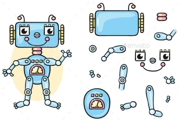 Robot Body Parts For Kids To Put Together机器人矢量素材