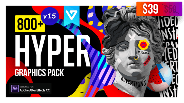 Videohive - Hyper - Graphics Pack V1.5 - 24835354 时尚MG图形抽象元素工具