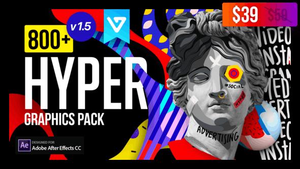 Hyper - Graphics Pack AE脚本-800+创意文字标题渐变背景转场动画图形元素包V1.5+音效