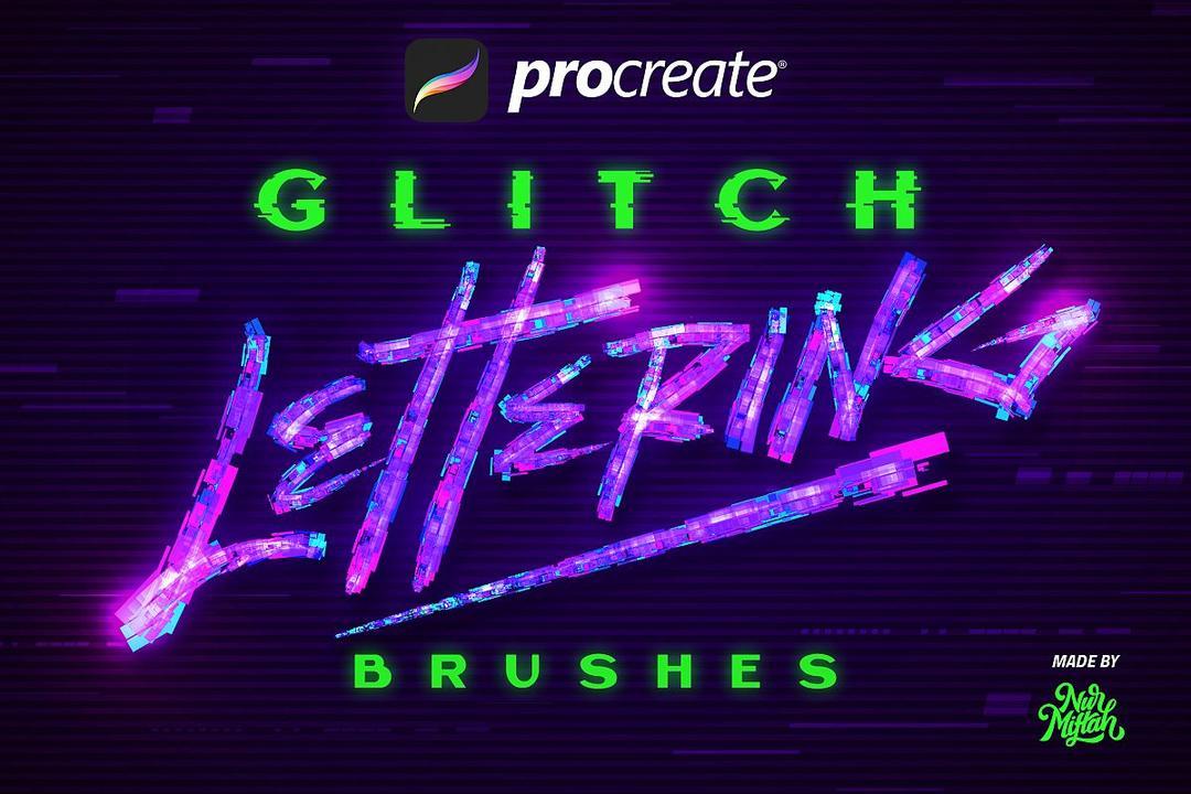 Procreate Glitch Lettering Brushes 3670731 故障风字母 Procreate笔刷