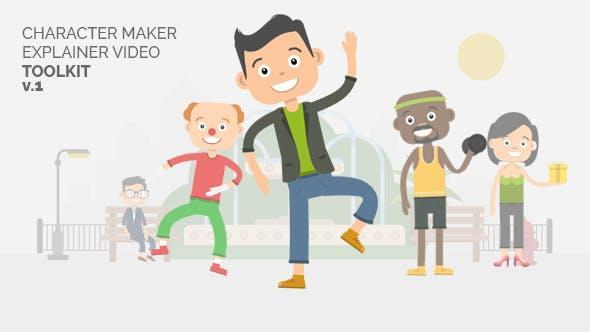 AE模板带使用视频教程 可爱卡通人动作场景解说演示MG动画Character Maker Explainer Video Toolkit
