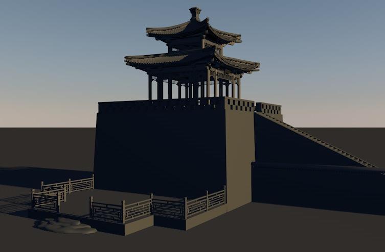 古建模型:城楼3D模型 Ancient tower,3D模型