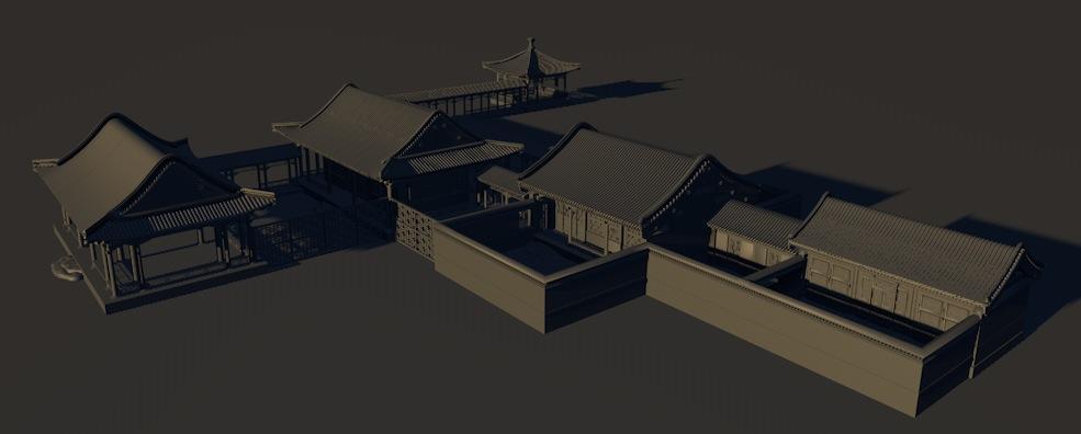 古建房屋群3D模型 Ancient houses 3D模型
