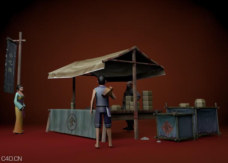 游戏古代场景与人物《小吃摊》C4D模型