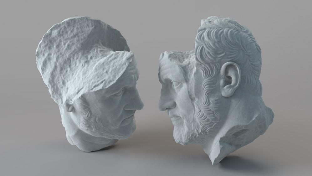 破损的男性头像雕塑C4D模型 Portrait of a Man