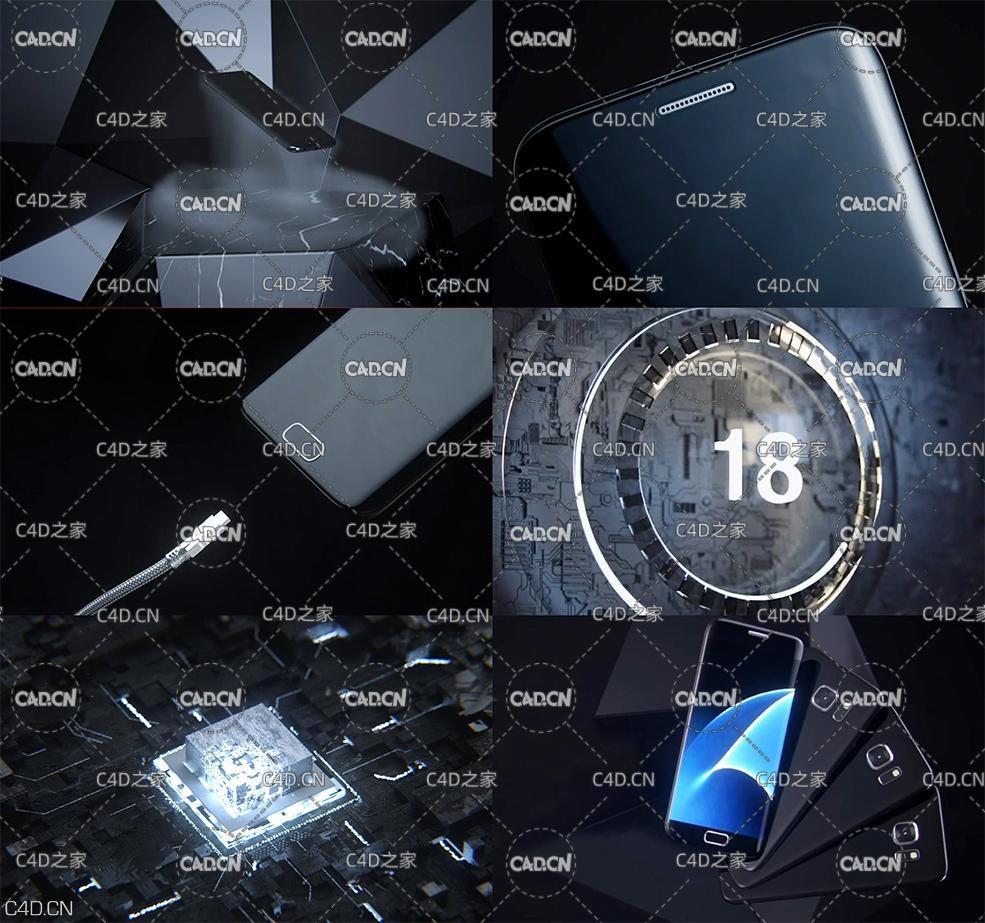 C4D Octane Renderer手机产品动画分镜工程(杨帆原创工程)