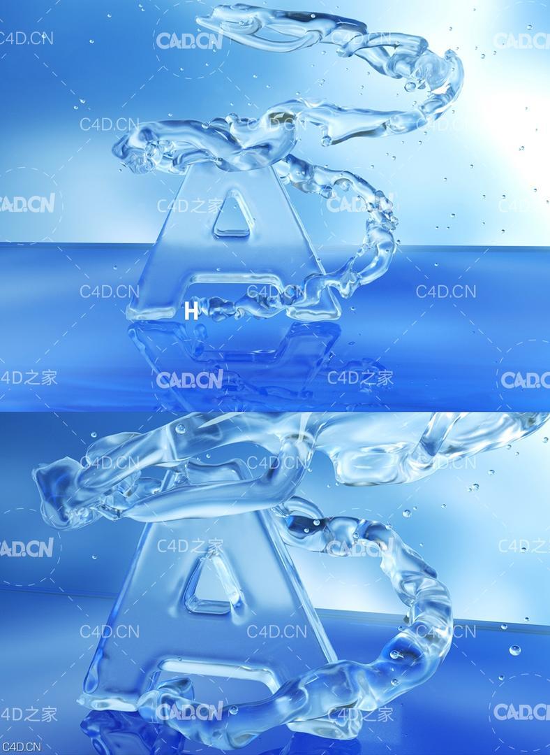 C4D Octane流体水缠绕的字母A动画模型 水流缠绕文字 流体文字动画工程