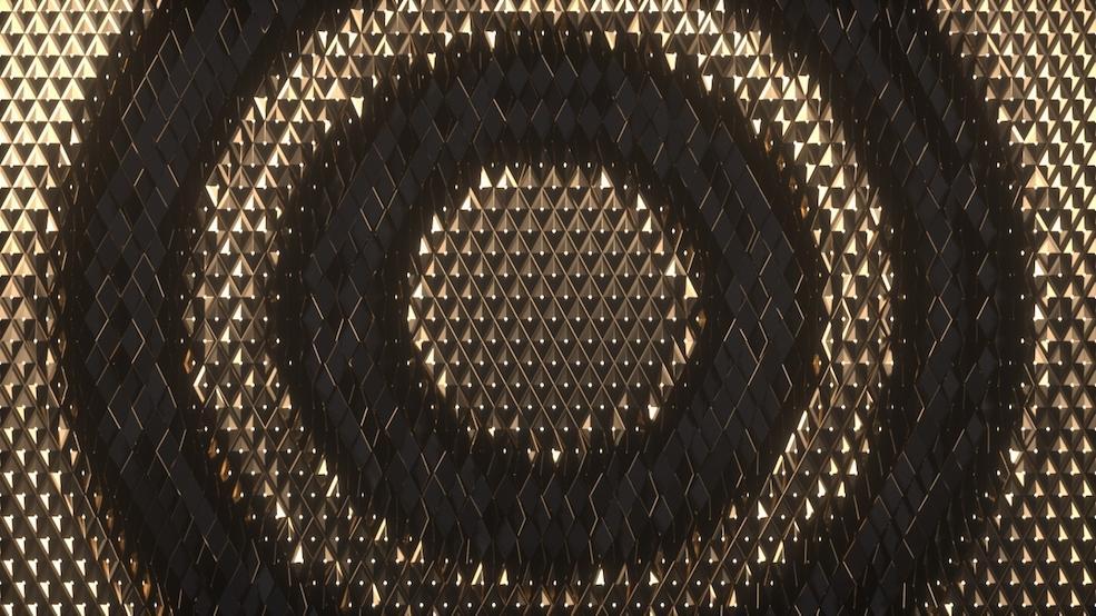 C4D Octane黄金鳞片翻转过渡动画效果