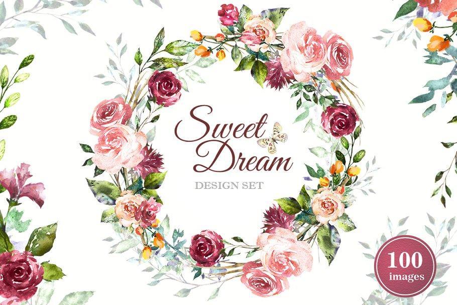 Watercolor Flower Clipart Design set 1808744 水彩花卉素材