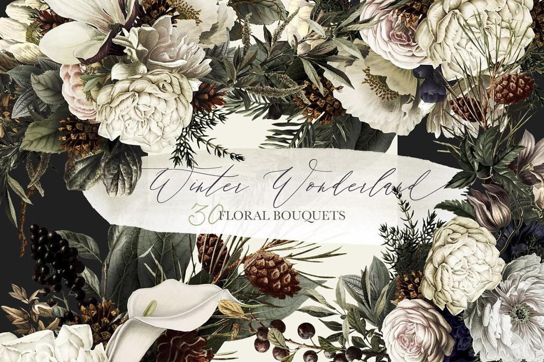 Winter Wonderland Floral Bouquets 冬季枯叶花卉水彩素材 植物装饰品水彩素材