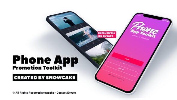 Phone App Promotion Toolkit苹果iPhone x样机移动程序App演示三维iPhone手机APP宣传展示动画场景片头