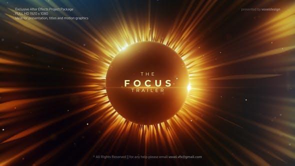 电影预告片AE模板震撼史诗影视宣传视频片头太阳光效效果动画AE模版 Focus CinematicTrailer 26067069
