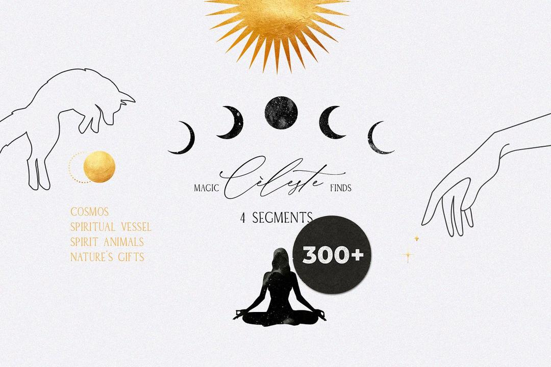 CELESTE spiritual cosmic magic kit 3932700 塔罗牌星座插画 素材水彩星座插图素材 塔罗牌背景素材