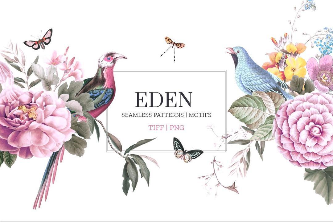 EDEN, Essence of elegance 2948598 优雅精美花鸟画包装纸背景