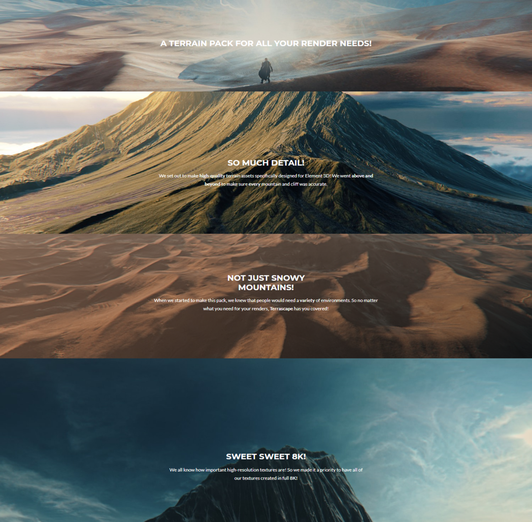 Element 3D/E3D高山雪山外星地表地形模型预设Terrascape – Landscapes for Element 3D
