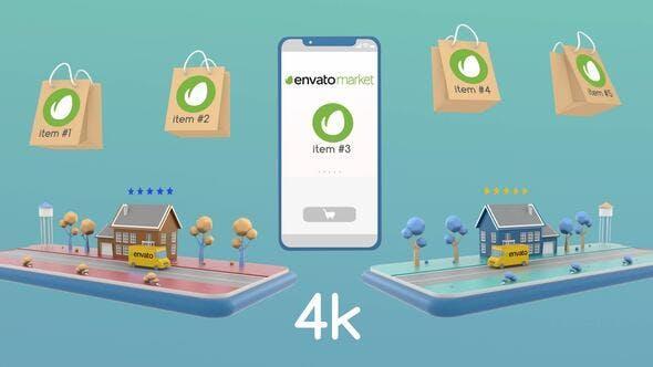 Online Store And DeliveryAE模板-3D场景演示手机APP程序在线商店网购物流配送服务动画