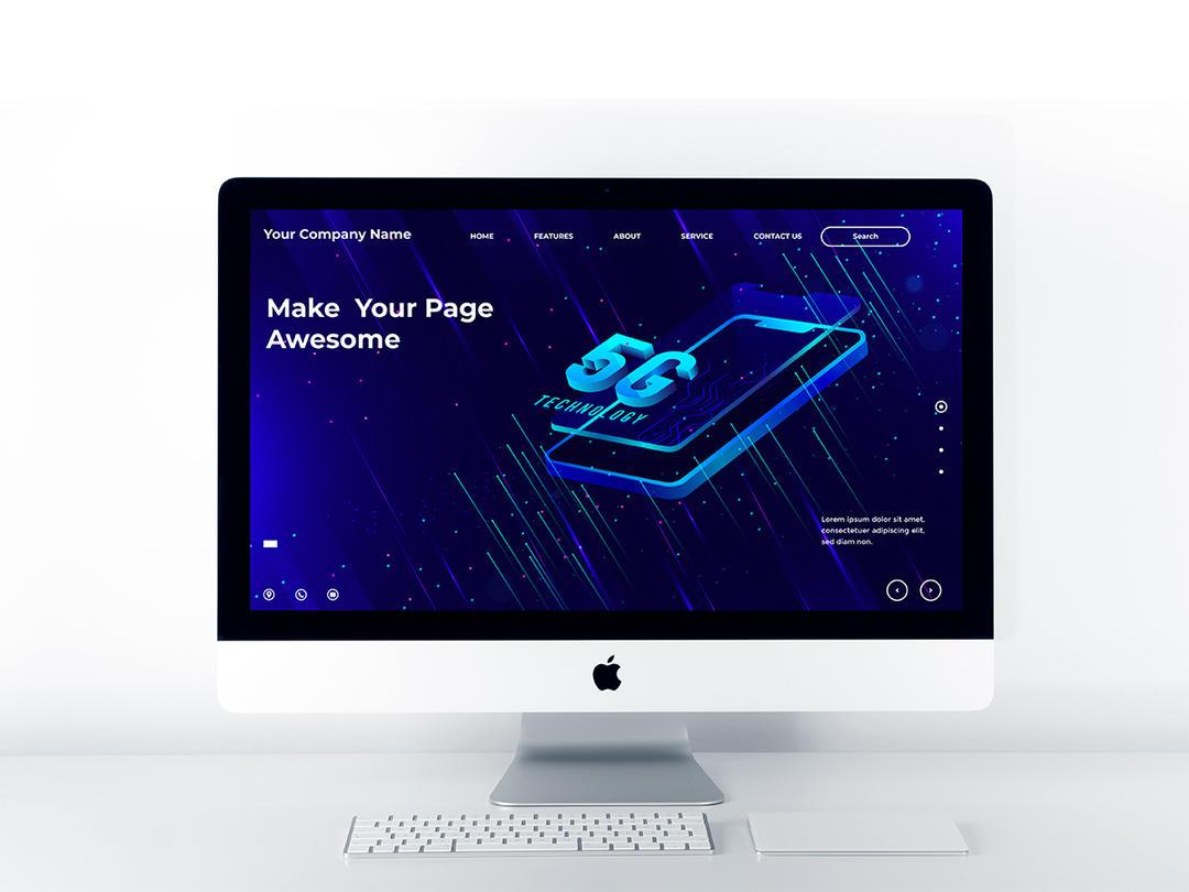 isometric 5G illustration Landing Page Design   5G科技矢量插图元素 5G概念矢量插图 科技网站插图