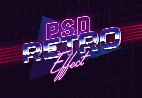 1980s Retro Text Effect Style Mockup 355528168 复古风格字体效果样机