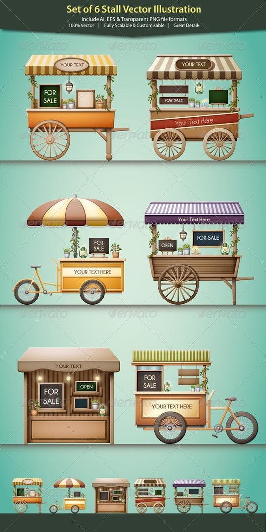 Stall Vector Illustration 地摊小推车矢量插画 咖啡餐车矢量插画