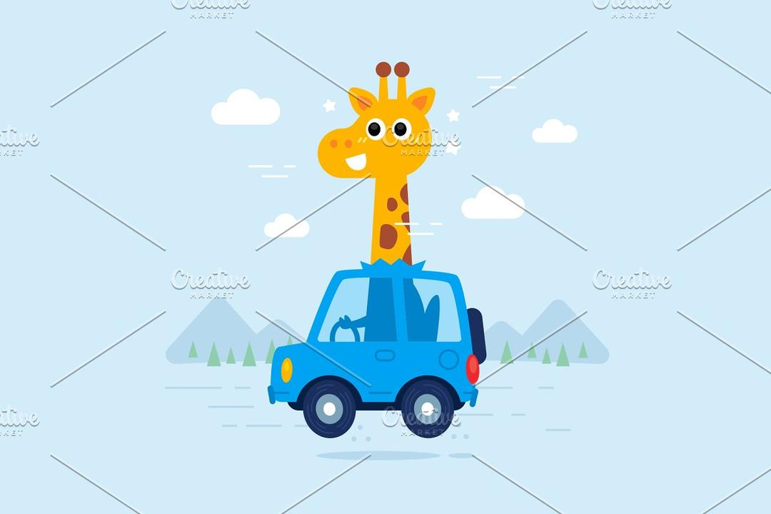 Cute Vector Giraffe Drive Car 长颈鹿开车矢量图