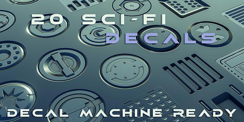 20套Blender科幻贴花图形烘焙建模组件20 Sci-fi Decal Machine Decals For 2.81-2.82