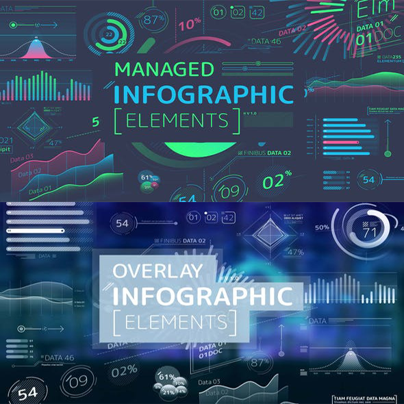 AE模板-信息数据图表柱状图饼状图指示线图标动画 两套