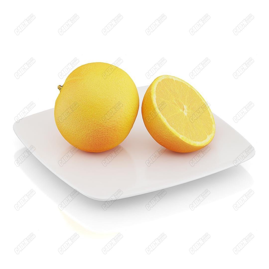 C4D模型-被切开的可以榨汁橙子橙汁的橘子水果模型(包含材质和贴图)_C4D模型