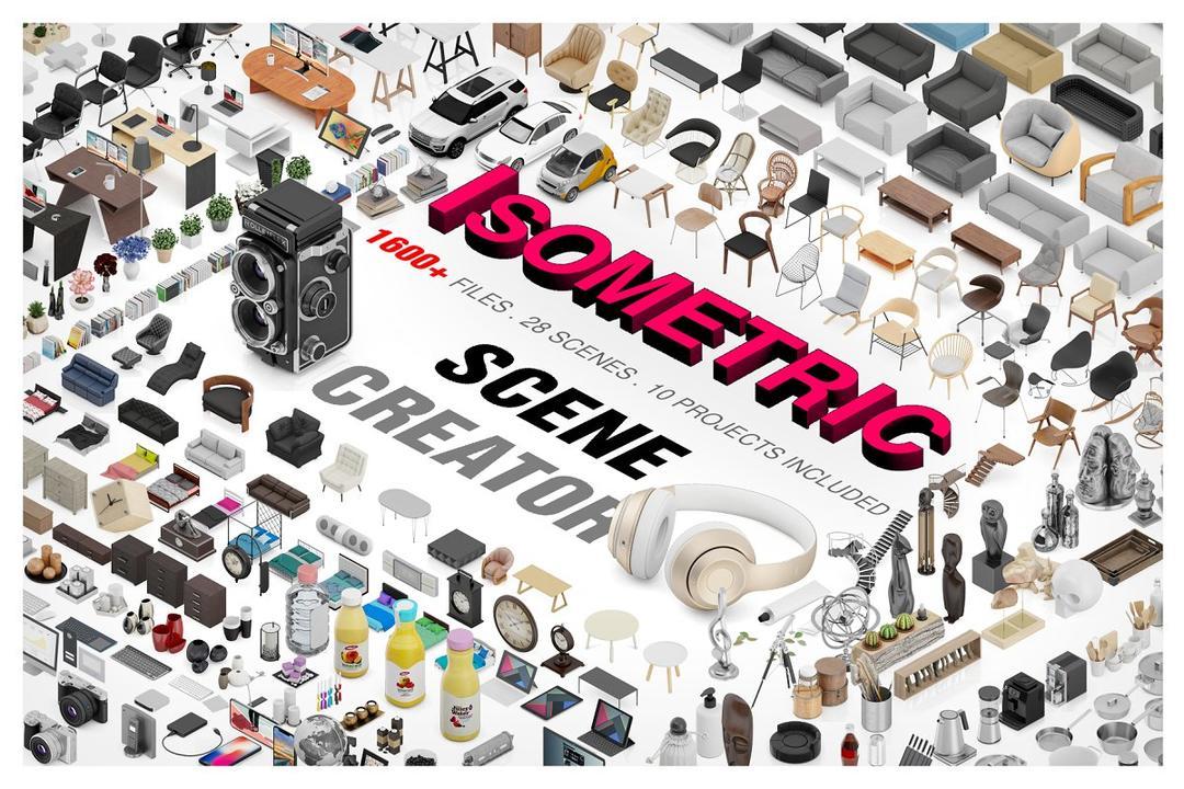 Isometric Scene Creator Mockup 2623442 等距图标场景样机素材合集