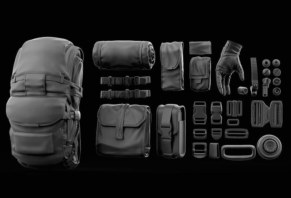 士兵背包装备3D模型 Cubebrush – Unloading Soldiers Bashkit