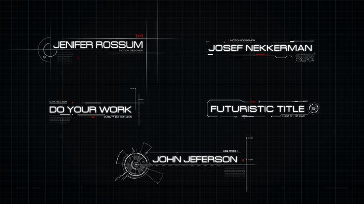 AE模板 炫酷未来科技感网格背景黑白风格标题栏 高科技信息展示动画HUD元素工具包futuristic-titles