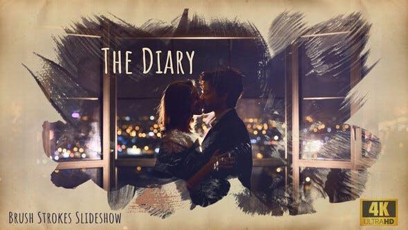 The Diary – Brush Strokes 4K Slideshow 旅行游记水墨幻灯片PR模板  唯美素描油墨水彩笔刷动画中国风视频相册照片幻