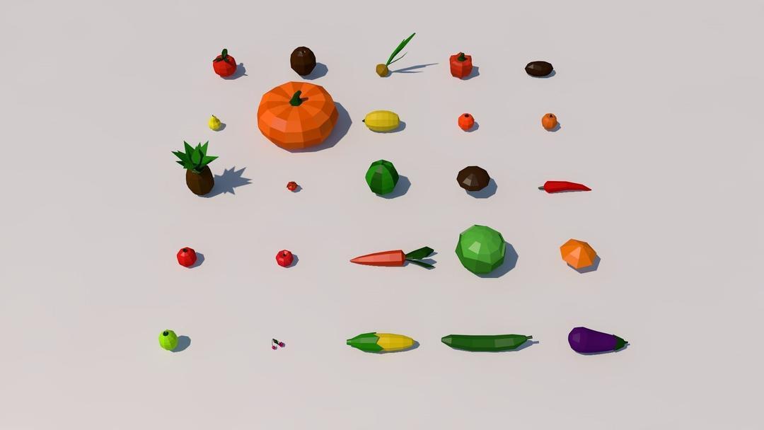卡通低面多边形蔬菜水果C4D模型 Fruit and vegetables low poly pack Low-poly  3D model