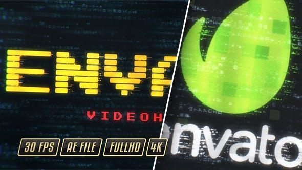 Digital Technology Intro 19884069 科技矩阵编程数字像素特效标题片头标志带字幕条AE模板