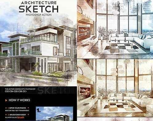 Architecture Sketch Photoshop Action 20891106 建筑素描PS动作